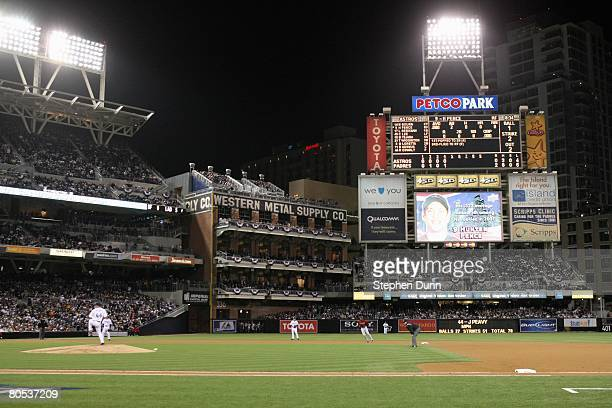 A general view as Jake Peavy of the San Diego Padres pitches during the Opening Day game against the Houston Astros on March 31 2008 at Petco Park in...