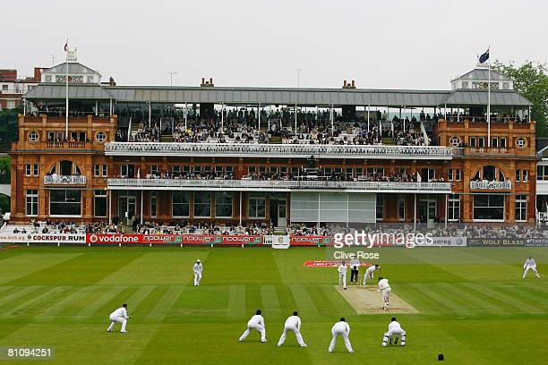 General view as James Anderson of England bowls during the first day of the 1st npower Test Match between England and New Zealand at Lord's on May 15...