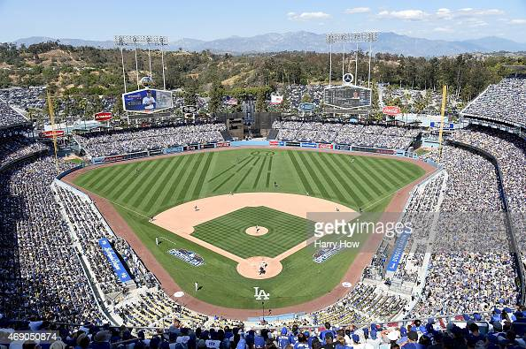 General view as James Shields of the San Diego Padres pitches against the Los Angeles Dodgers during opening day at Dodger Stadium on April 6 2015 in...