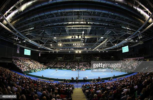 General view as James Ward of The Aegon GB Davis Cup Team in action against John Isner of the United States during Day 1 of the Davis Cup match...
