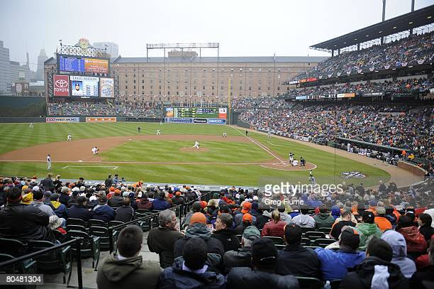 General view as Jeremy Guthrie of the Baltimore Orioles pitches against the Tampa Bay Rays on Opening Day on March 31 2008 at Camden Yards in...