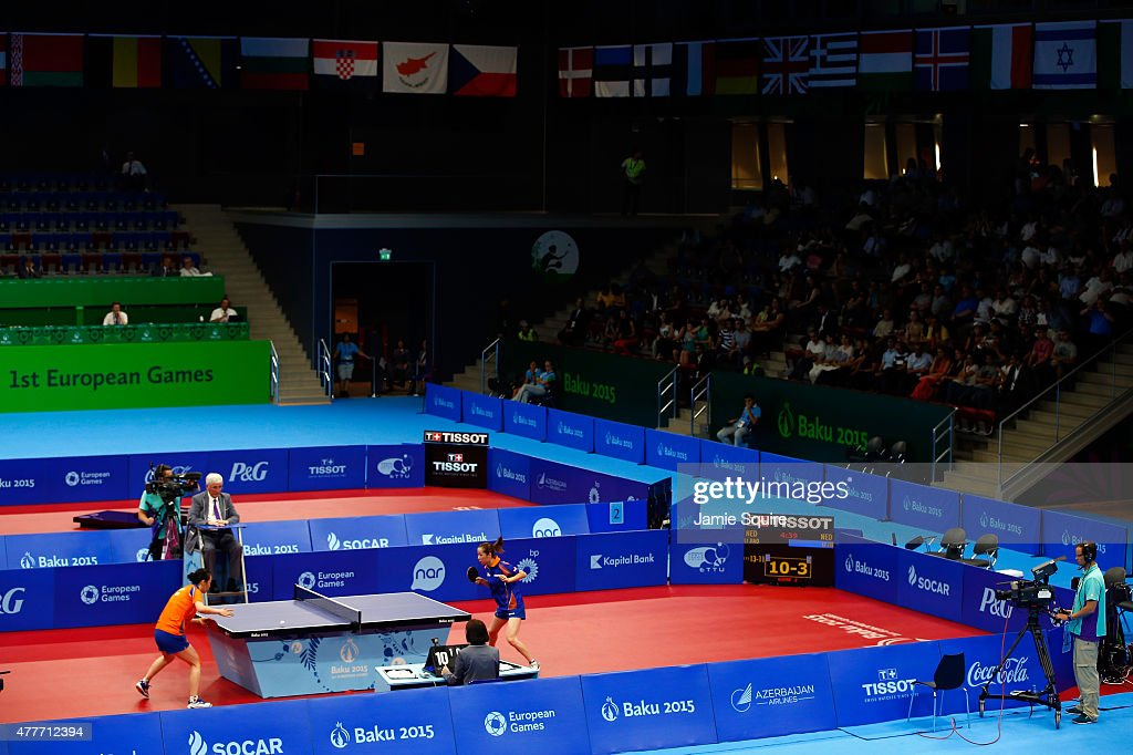 A general view as Jiao Li of the Netherlands competes against Jie Li of the Netherlands in the Women's Table Tennis Finals during day seven of the Baku 2015 European Games at the Baku Sports Hall on June 19, 2015 in Baku, Azerbaijan.