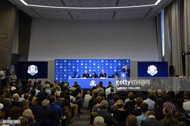 A general view as Jim Furyk Captain of The United States of America and Thomas Bjorn Captain of Europe speak during a Ryder Cup 2018 Year to Go...
