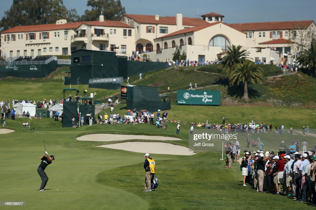 A general view as Jim Furyk hits a shot up the 9th fairway in the first round of the Northern Trust Open at the Riviera Country Club on February 13...