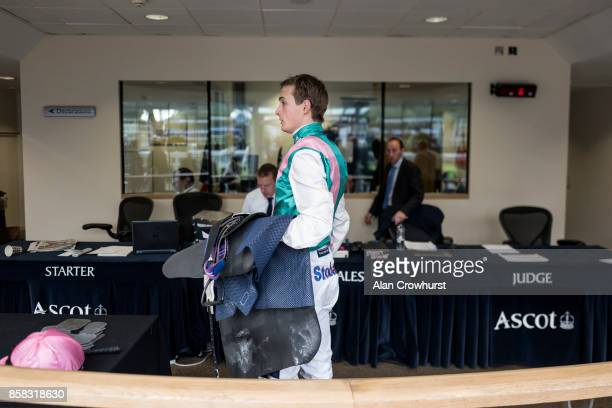 A general view as jockey Harry Bentley weighs in at Ascot racecourse on October 6 2017 in Ascot United Kingdom