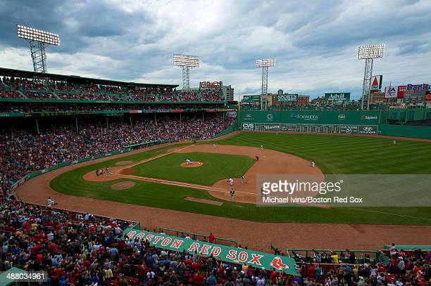 General view as Jon Lester of the Boston Red Sox pitches against the Oakland Athletics in the eighth inning at Fenway Park on May 3 2014 in Boston...