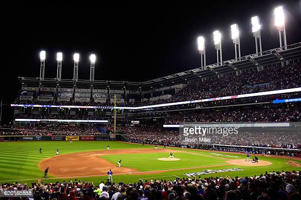 A general view as Josh Tomlin of the Cleveland Indians throws a pitch against the Chicago Cubs during the first inning in Game Six of the 2016 World...