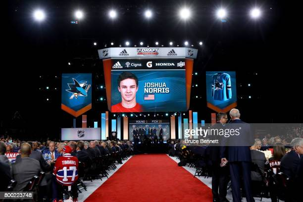 A general view as Joshua Norris is selected 19th overall by the San Jose Sharks during the 2017 NHL Draft at the United Center on June 23 2017 in...