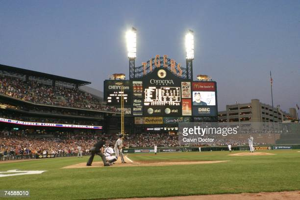 General view as Justin Verlander of the Detroit Tigers pitches to JJ Hardy of the Milwaukee Brewers at Comerica Park in Detroit Michigan on June 12...