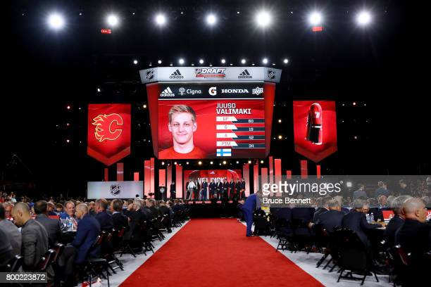 A general view as Juuso Valimaki is selected 16th overall by the Calgary Flames during the 2017 NHL Draft at the United Center on June 23 2017 in...
