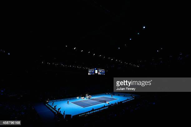 A general view as Kei Nishikori of Japan plays in the round robin singles match against Roger Federer of Switzerland on day three of the Barclays ATP...