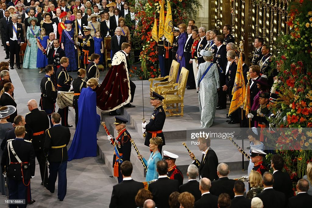 A general view as King Willem Alexander of the Netherlands and Queen Maxima of the Netherlands arrive to attend the inauguration of King Willem-Alexander at Nieuwe Kerk in front of a joint session of the two houses of the States General at Nieuwe Kerk on April 30, 2013 in Amsterdam, Netherlands.