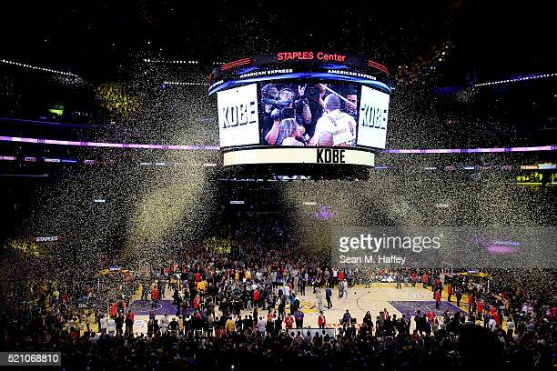 A general view as Kobe Bryant of the Los Angeles Lakers walks towards the tunnel after scoring 60 points against the Utah Jazz at Staples Center on...