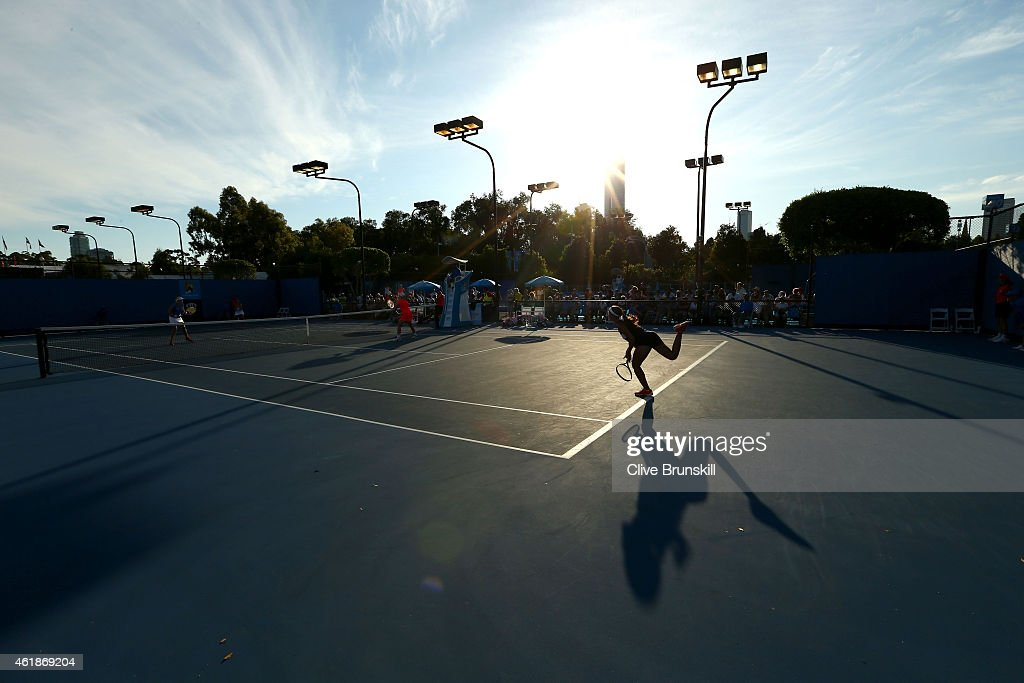 A general view as <a gi-track='captionPersonalityLinkClicked' href=/galleries/search?phrase=Kristina+Mladenovic&family=editorial&specificpeople=4835181 ng-click='$event.stopPropagation()'>Kristina Mladenovic</a> of France competes in her second round match against Bethanie Mattek-Sands of the United States during day three of the 2015 Australian Open at Melbourne Park on January 21, 2015 in Melbourne, Australia.