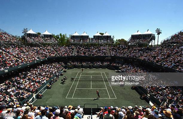 General view as Lindsay Davenport serves to Serena Williams during the semifinals of the Family Circle Cup on April 12 2003 at the Family Circle...