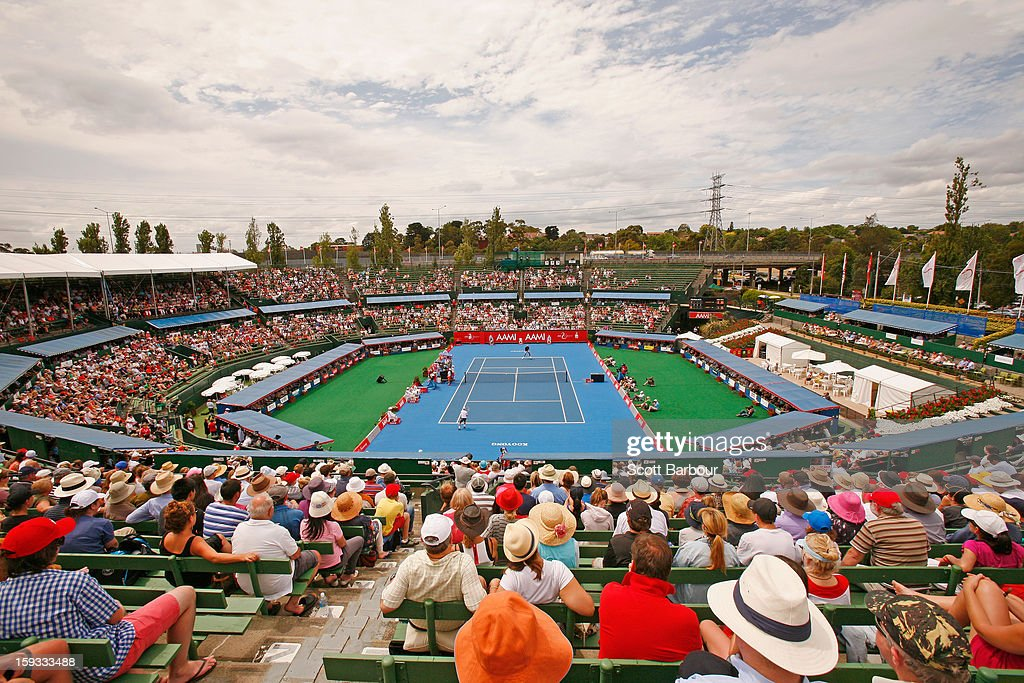 A general view as Lleyton Hewitt of Australia plays against Juan Martín del Potro of Argentina during day four of the AAMI Classic at Kooyong on January 12, 2013 in Melbourne, Australia.