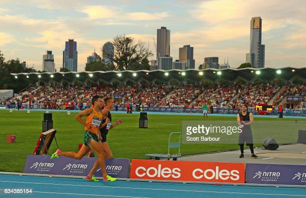 A general view as Luke Mathews of Australia competes in the Mixed 2x300 Metre Relay during the 2017 Nitro Athletics Series at Lakeside Stadium on...