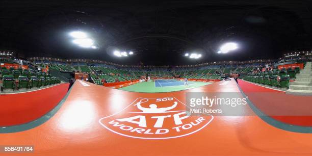 A general view as Marin Cilic of Coratia warms up prior to his semi final match against Adrian Mannarino of France on day six of the Rakuten Open at...