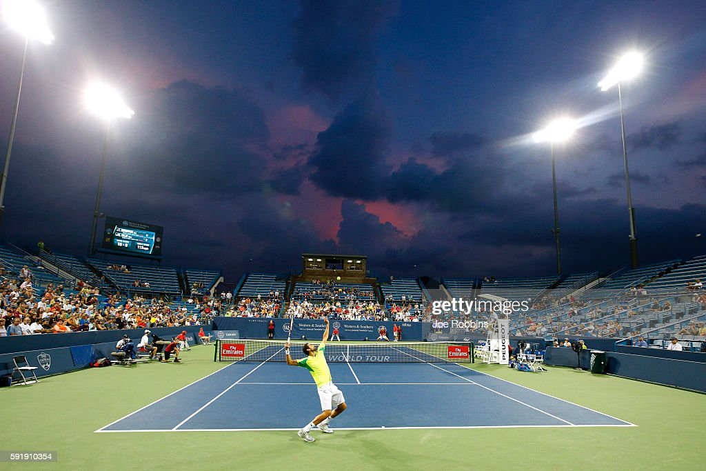 General view as Marin Cilic of Croatia serves to Tomas Berdych of the Czech Republic during a third round match on Day 6 of the Western Southern Open...