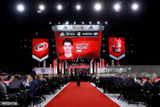 A general view as Martin Necas is selected 12th overall by the Carolina Hurricanes during the 2017 NHL Draft at the United Center on June 23 2017 in...