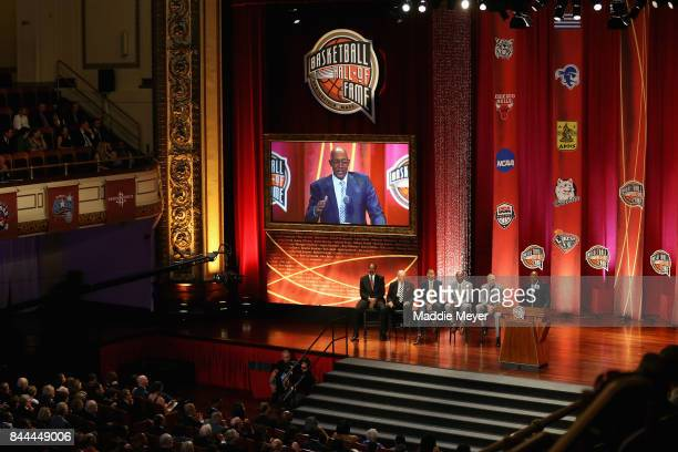 "A general view as Naismith Memorial Basketball Hall of Famers Artis Gilmore Bobby ""Slick"" Leonard Reggie Miller Spencer Haywood and Rick Barry sit..."