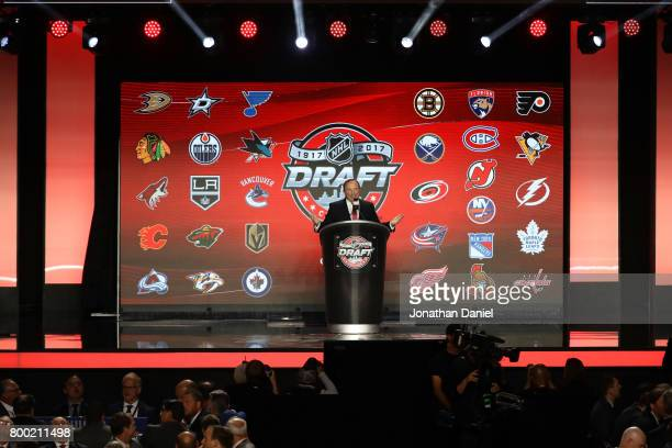 A general view as NHL Commissioner Gary Bettman addresses the crowd during the 2017 NHL Draft at the United Center on June 23 2017 in Chicago Illinois