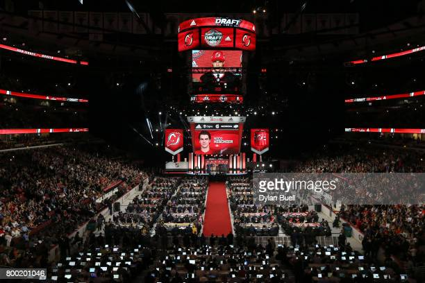 A general view as Nico Hischier after being selected first overall by the New Jersey Devils during the 2017 NHL Draft at the United Center on June 23...