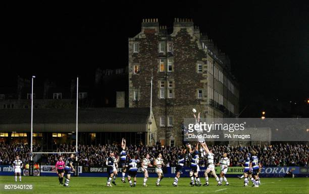 A general view as Northampton's Ignacio Fernandez Lobbe wins a lineout during the Guinness Premiership match at the Recreation Ground Bath