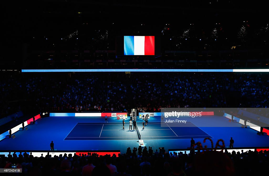 A general view as Novak Djokovic of Serbia and Kei Nishikori of Japan observe a minute's silence to remember those who lost their lives in the recent Paris attacks prior to their men's singles match during day one of the Barclays ATP World Tour Finals at O2 Arena on November 15, 2015 in London, England.