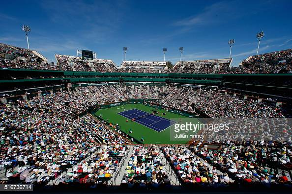 A general view as Novak Djokovic of Serbia in action against Milos Raonic of Canada during day fourteen of the BNP Paribas Open at Indian Wells...