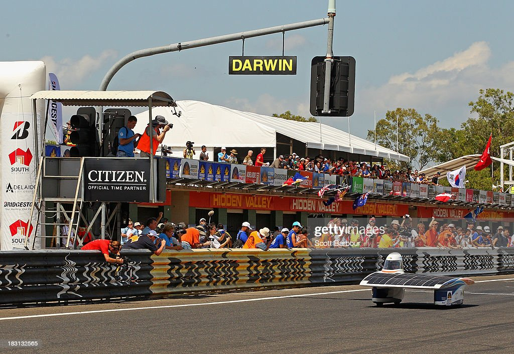 A general view as Nuna7 from Nuon Solar Team, Delft University of Technology, the Netherlands races during Dynamic Scrutineering in the Bridgestone World Solar Challenge at the Hidden Valley Motor Sports Complex on October 5, 2013 in Darwin, Australia. Over 25 teams from accross the globe will compete in the 2013 World Solar Challenge - a 3000 km solar-powered vehicle race between Darwin and Adelaide. The race begins on October 6th with the first car expected to cross the finish line on October 10th.