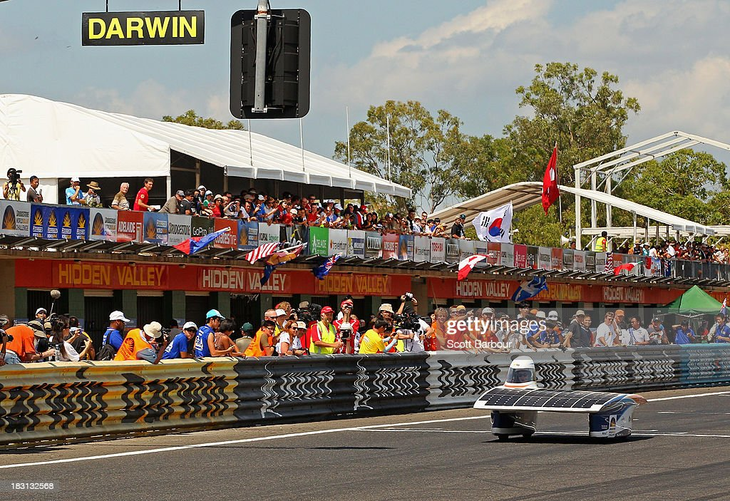 A general view as Nuna7 from Nuon Solar Team, Delft University of Technology, the Netherlands competes in the Clipsal and Schneider Electric Challenger Class during Dynamic Scrutineering in the Bridgestone World Solar Challenge at the Hidden Valley Motor Sports Complex on October 5, 2013 in Darwin, Australia. Over 25 teams from accross the globe will compete in the 2013 World Solar Challenge - a 3000 km solar-powered vehicle race between Darwin and Adelaide. The race begins on October 6th with the first car expected to cross the finish line on October 10th.