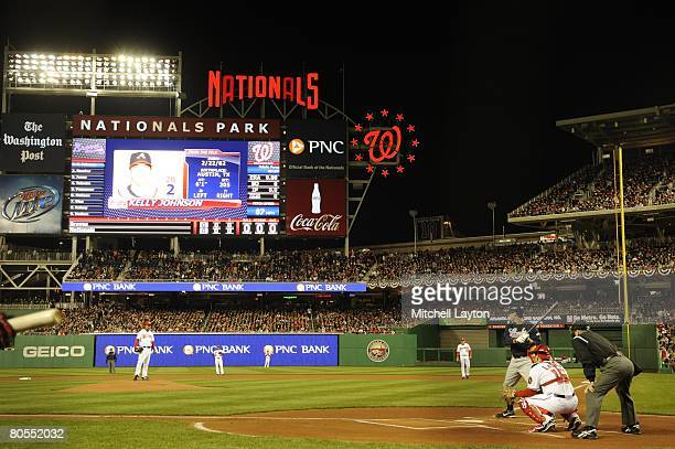 General view as Odalis Perez of the Washington Nationals pitches the first pitch at Nationals Park during a baseball game against the Atlanta Braves...
