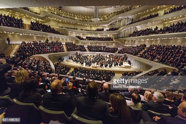 A general view as Olaf Scholz Mayor of Hamburg delivers a speech during the opening concert of the Elbphilharmonie concert hall on January 11 2017 in...