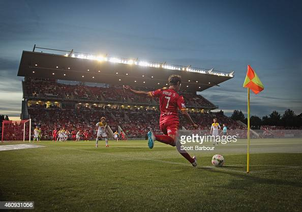 A general view as Pablo Sanchez of United takes a corner kick during the round 14 ALeague match between Adelaide United and Wellington Phoenix at...