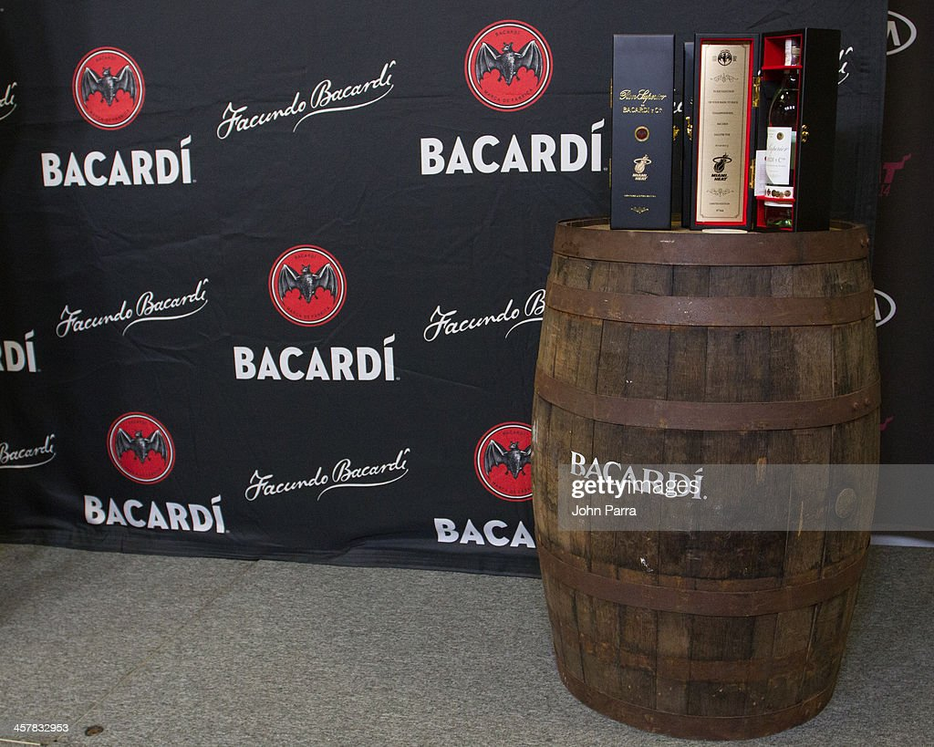 A general view as Pat Riley President of the Miami Heat and Toby Whitmoyer Vice President and brand maniging director for the rum category at Bacardi USA toast to a winning season with a limited-edition bottle of BACARDI Superior rum at American Airlines Arena on December 18, 2013 in Miami, Florida.