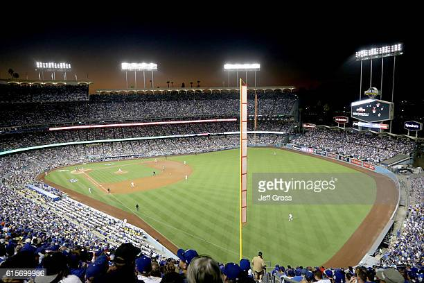 A general view as Pedro Baez of the Los Angeles Dodgers pitches in the fourth inning against the Chicago Cubs in game four of the National League...