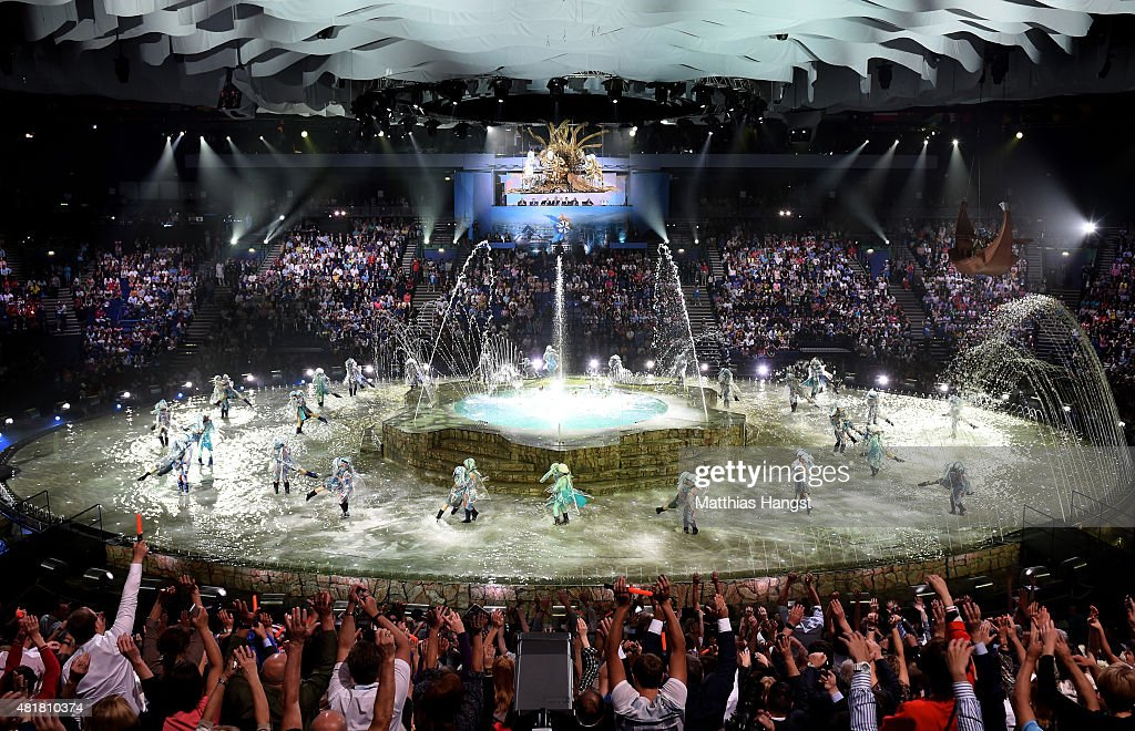 A general view as performers dance during the Opening Ceremony of the 16th FINA World Championships at TatNeft Arena on July 24, 2015 in Kazan, Russia.
