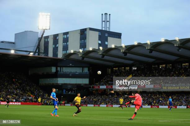 A general view as Petr Cech of Arsenal clears the ball during the Premier League match between Watford and Arsenal at Vicarage Road on October 14...