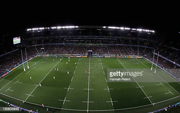 A general view as Piri Weepu of the All Blacks kicks at the start of the 2011 IRB Rugby World Cup Final match between France and New Zealand at Eden...