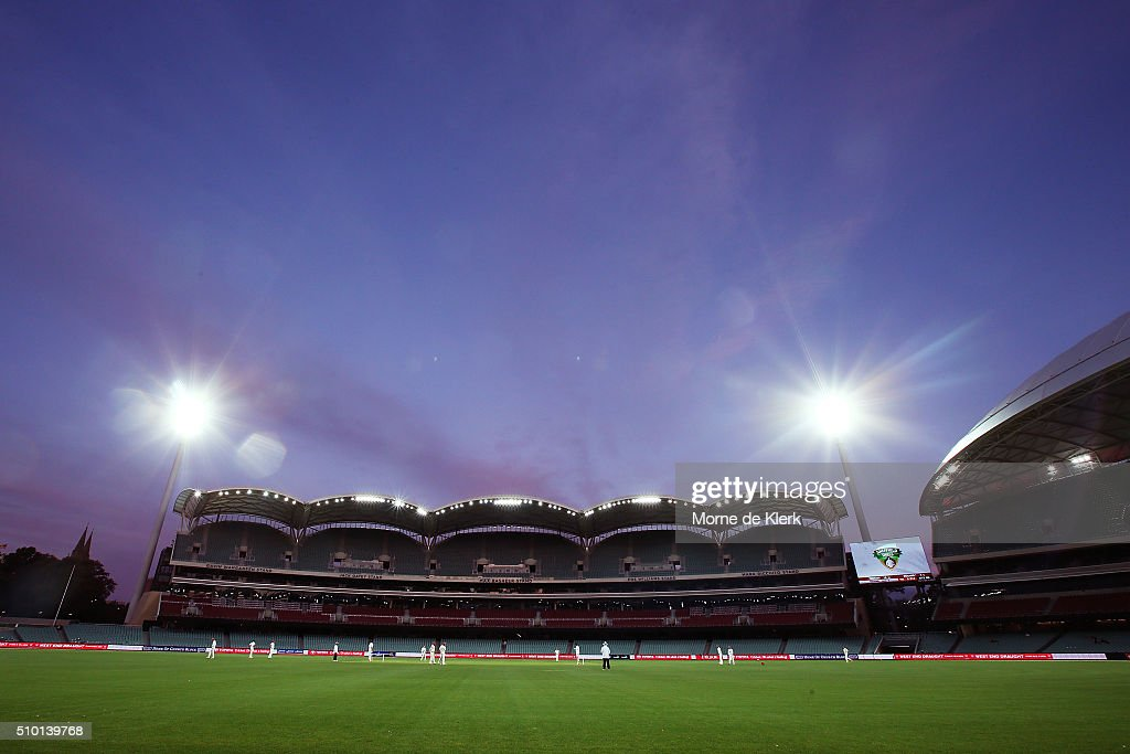 A general view as play continues under lights during day one of the Sheffield Shield match between South Australia and Victoria at Adelaide Oval on February 14, 2016 in Adelaide, Australia.