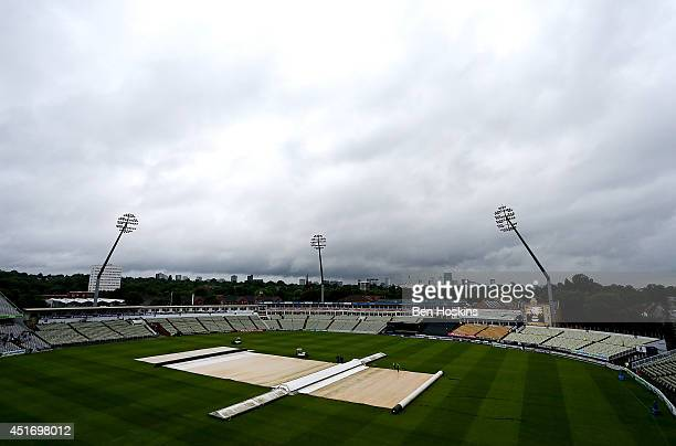 General view as play is abandoned due to rain during the Natwest T20 Blast match between Birmingham Bears and Lancashire Lightning at Edgbaston on...