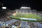 A general view as players of the North Carolina Tar Heels run onto the field prior to their game against the San Diego State Aztecs on September 6...
