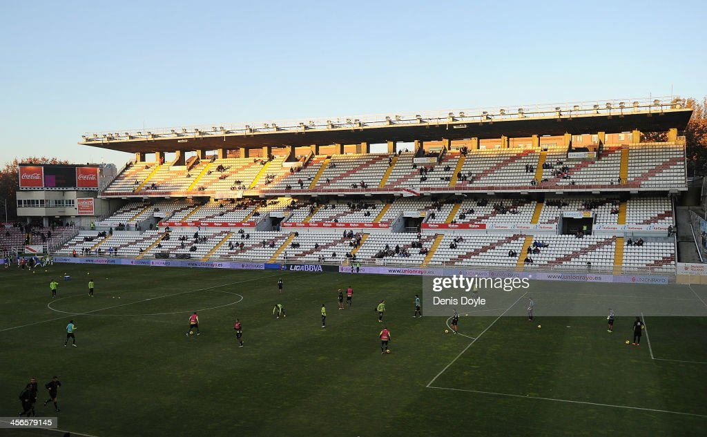 General view as players warm up at at Teresa Rivero stadium before the La Liga match between Rayo Vallecano de Madrid and Granada CF on December 14, 2013 in Madrid, Spain.