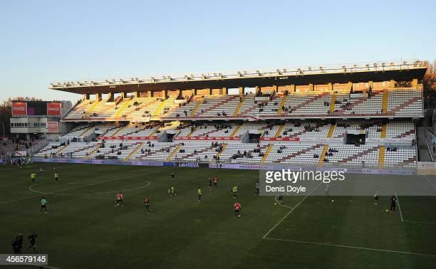 General view as players warm up at at Teresa Rivero stadium before the La Liga match between Rayo Vallecano de Madrid and Granada CF on December 14...