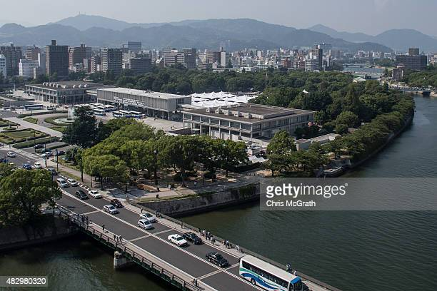 A general view as preparations continue at the Hiroshima Peace Memorial Park on August 5 2015 in Hiroshima Japan Japan is preparing to mark the 70th...