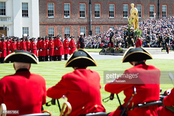 A general view as Prince Andrew Duke fo York and Chelsea Pensioners attend the Founder's Day Parade at Royal Hospital Chelsea on June 4 2015 in...