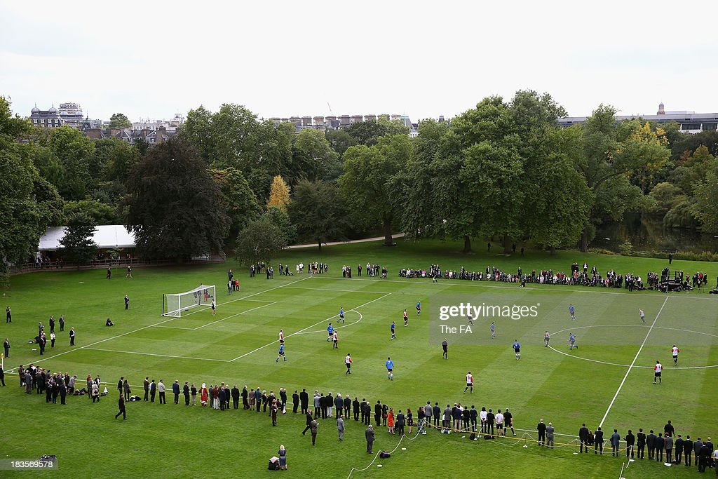 A general view as Prince William, Duke of Cambridge in his role as The President of The Football Association attends the first ever football match at Buckingham Palace between Civil Service FC and Polytechnic FC as part of The FA's 150th anniversary and an awards ceremony celebrating football's grassroots heroes at Buckingham Palace on October 7, 2013 in London, England.