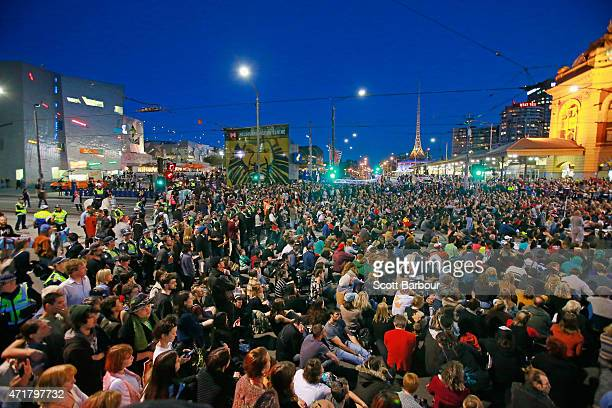 A general view as protesters stage a sit down protest outside of Flinders Street Station on May 1 2015 in Melbourne Australia Warriors of the...