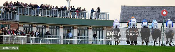 A general view as racegoers look on at Carlisle racecourse on November 02 2014 in Carlisle England